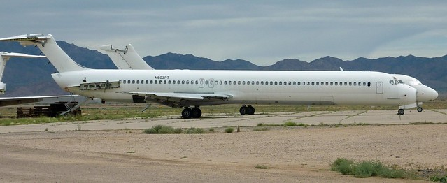 Old DC-9s/MD-80s parked at Kingman Airport