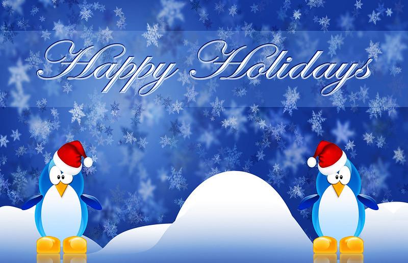 Happy Penguin Holidays Wallpaper