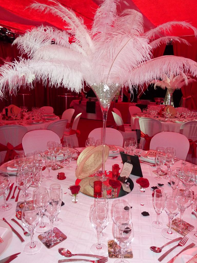 Deco Centre De Table decoration salle theme cabaret   centre de table plume, deco