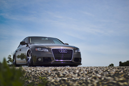 Audi A4 Bagged on CW-S8 Matte Black Machined Face | by Concavo Wheels