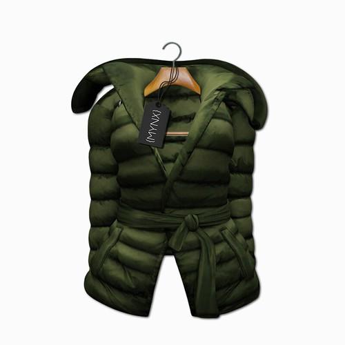 {MYNX} Puffy Tie Jacket - Olive Ad