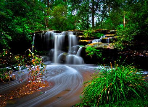 mossyrock flowingwater cascade huntscreekfalls carlingford northrocks balakafalls newsouthwales sydney australia simamimages