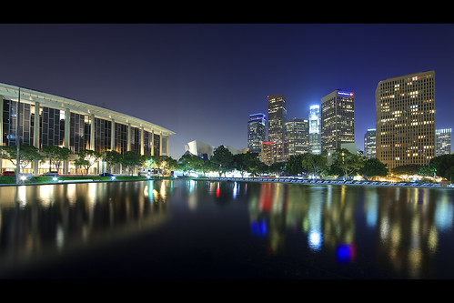 california longexposure usa reflection building water skyline architecture night canon landscape photography losangeles downtown cityscape unitedstates wideangle midnight moat dtla ladwp ericlo ef14mmf28liiusm eos5dmarkii