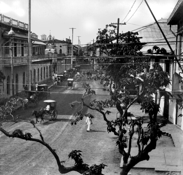 Calle Real, main street of Intramuros, view from top of Parian Gate, Manila, Philippines 1906