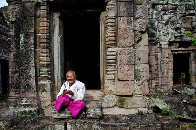 Buddhist Nun in Preah Khan Temple