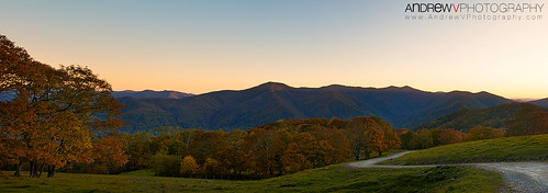 road trees sunset panorama mountains fall evening october view path pano unitedstatesofamerica northcarolina panoramic trail valley maggievalley andrewvernon nikond300s aperture3