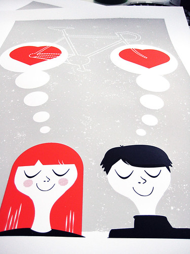 Thinking Of You, silkscreen art print process | by strawberryluna
