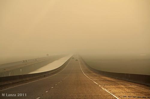 fog sunrise mississippi dawn haze highway freeway i10