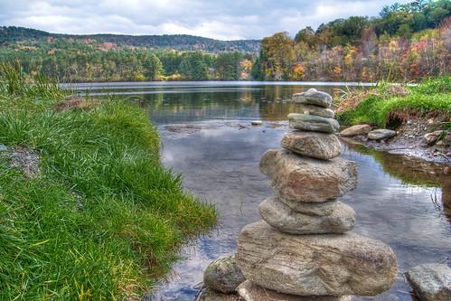 trees reflections pond nikon rocks vermont foliage cairn quechee photomatix p7000 tonemapped deweyspond