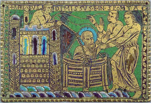 Saint Paul fleeing Damascus in a basket (1180-85)