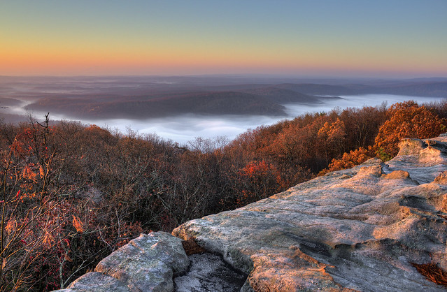 Fog in Little Cove and Grassy Cove, Black Mountain, Cumberland County, Tennessee