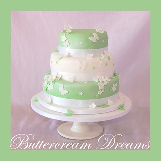 Green butterfly wedding cake | by Tara ʚϊɞ Jayne