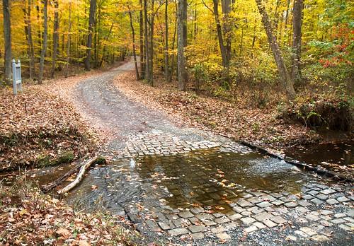road autumn red fall ford water yellow rural virginia stream path civilwar battlefield spotsylvania chancellorsville
