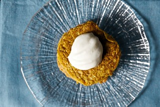 carrot pancakes, cream cheese dollop | by smitten kitchen