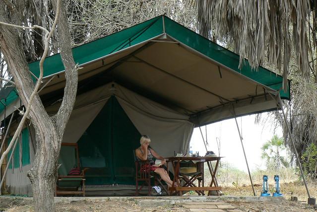 Tent at Lake Manze Camp, Selous Game Reserve