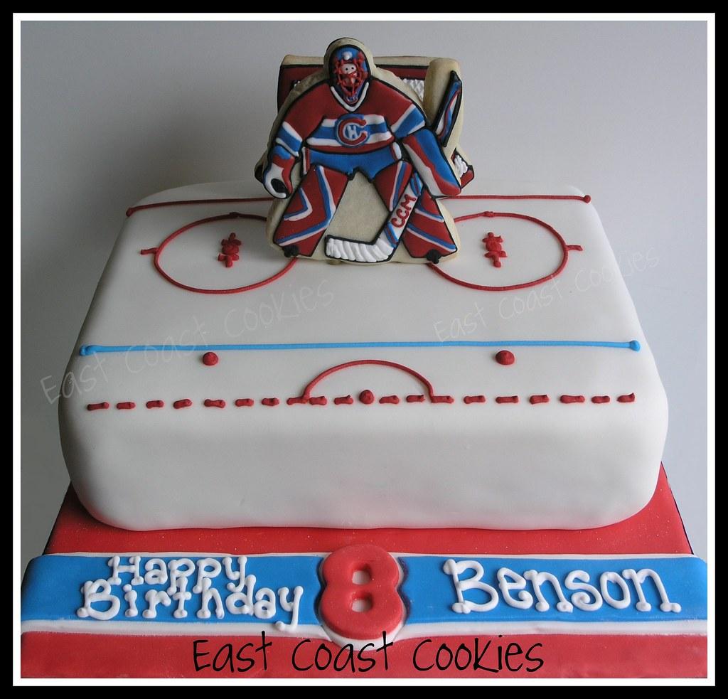 Surprising Goalie Hockey Cake With Decorated Cookies Birthday Cake Flickr Personalised Birthday Cards Petedlily Jamesorg