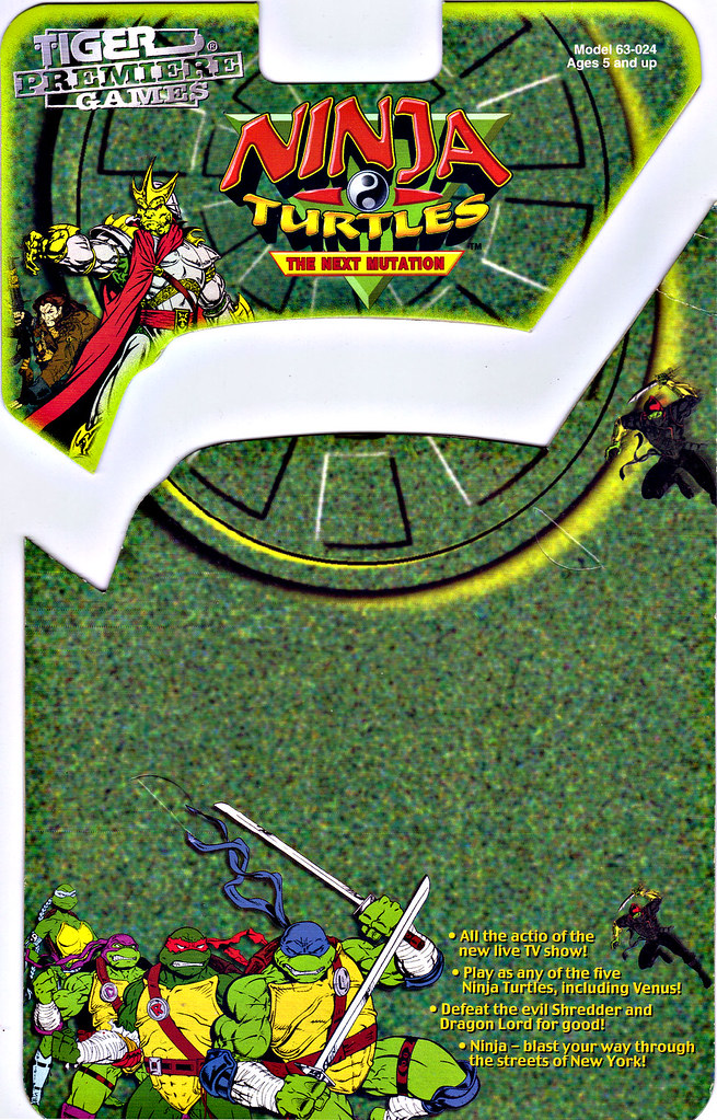 "TIGER ELECTRONICS :: ""NINJA TURTLES: THE NEXT MUTATION"" ELECTRONIC LCD GAME ..card backer i (( 1998 )) by tOkKa"