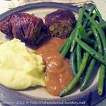 Rinderroulade mit Bohnen und Kartoffelschaum