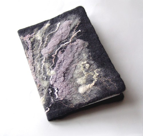 Felted Cover for a notebook Dark Grey   by GalaFilc