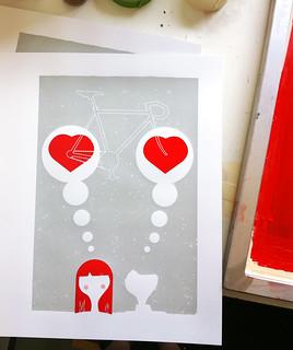 2nd color, Thinking Of You silkscreen art print process photo   by strawberryluna