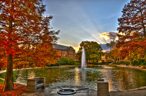 sunset ohio water students colors clouds campus day mirrorlake oct clear hdr ohiostate nikond90 1685mmnikonlens