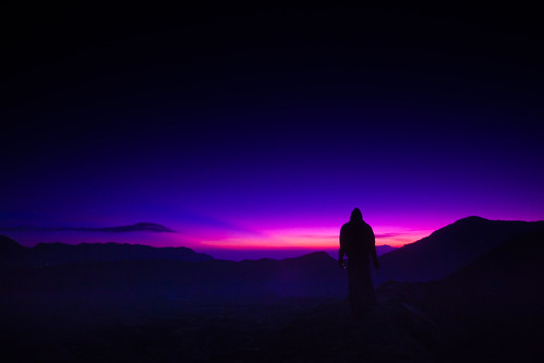 pink blue light shadow cloud man guy sunrise indonesia person volcano sand asia mt east ash rays dust bromo unkown
