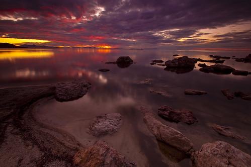 sunset sky reflection beach water colors antelopeisland greatsaltlake cloiuds utahstatepark