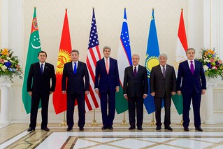 Secretary Kerry and Central Asian Foreign Ministers Pose for a Photograph Before the C5+1 Ministerial Meeting in Uzbekistan