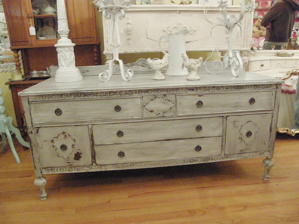 Fab Antique Buffet Tv Stand Shabby Chic Distressed Grey Wh