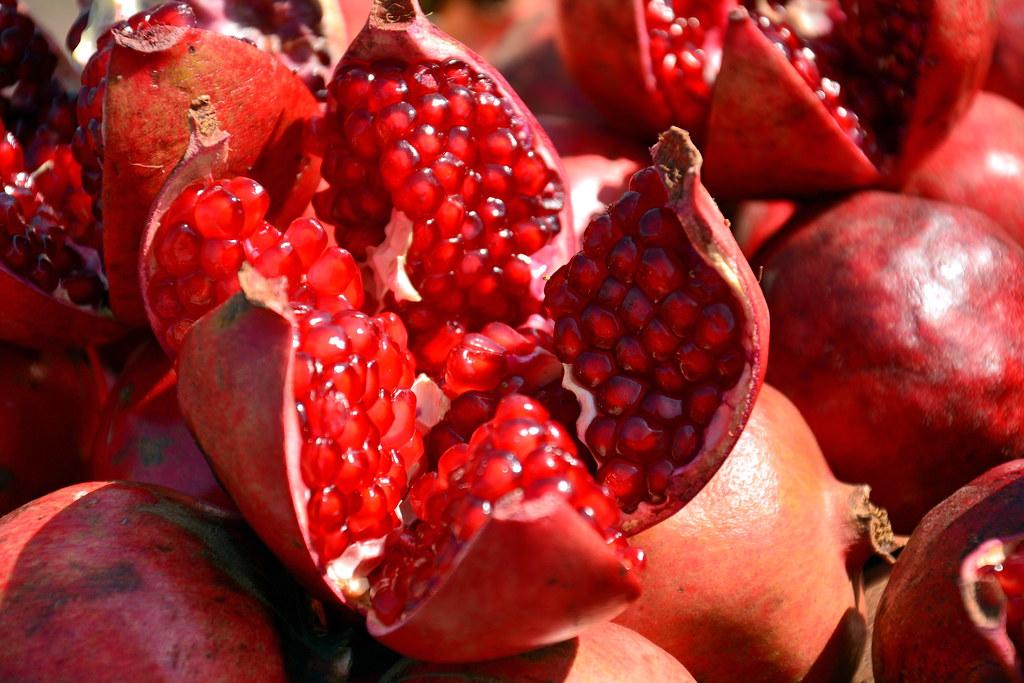 India Telangana Hyderabad Market Pomegranate Fruit