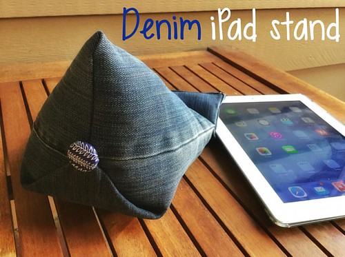 Upcycled tablet holder or beanbag