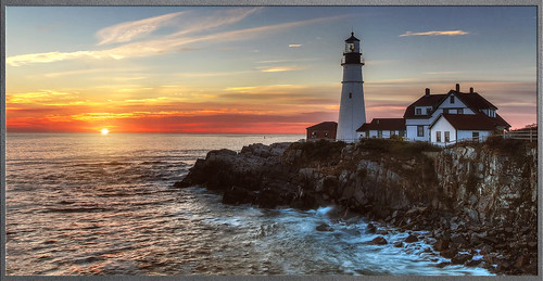 ocean new light england lighthouse portland coast maine atlantic hdr oceanscape