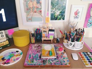 An updated view of my studio space. Taken August 28, 2015. | by Tamara Hala