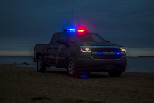 Photo of police truck with lights on in early morning hours
