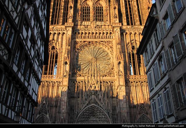 View along Rue Mercière towards Cathédrale Notre-Dame, Strasbourg, France