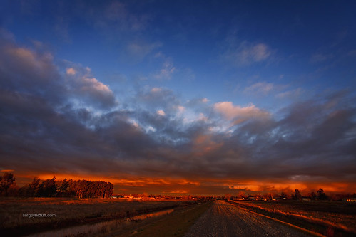 road trees sunset red sky nature clouds forest sunrise landscape fire sergey bidun sergeybidun