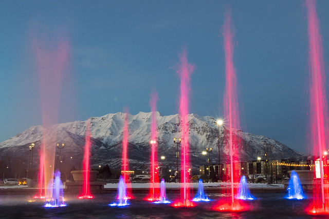 Water and Light Show Fronting Timpanogos [Explore]