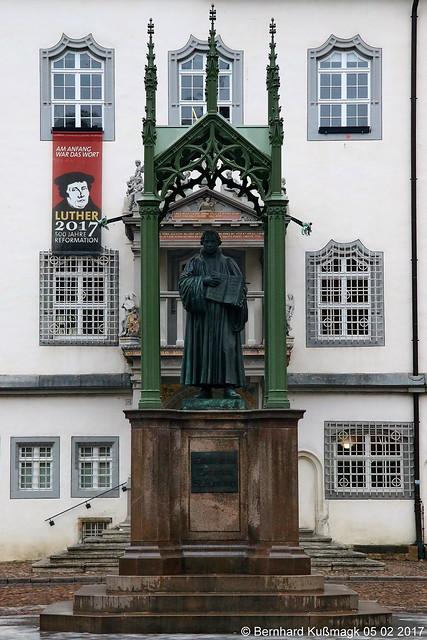 Europa, Deutschland, Sachsen-Anhalt, Lutherstadt Wittenberg, Altstadt, Markt, Lutherdenkmal