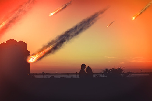 photography photographer photoshoot photomanipulation photoshop photoshopped photo totalphotoshop fineartphotography fineart conceptual composite composition couple meteors scifi sunset apocalypse meteorites orange boy guy man girl lady woman manipulated manipulation space downtown weather sky