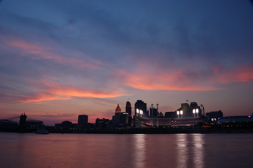 sunset ohio usa water skyline reflections cityscape kentucky cincinnati rivers ohioriver greatamericanballpark northernkentucky
