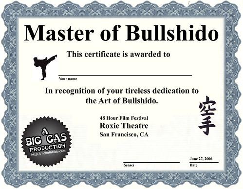 bullshido certificate | by jozecuervo