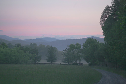 trees mist mountains nature fog rural sunrise fence landscape dawn gate north carolina appalachian appalachia