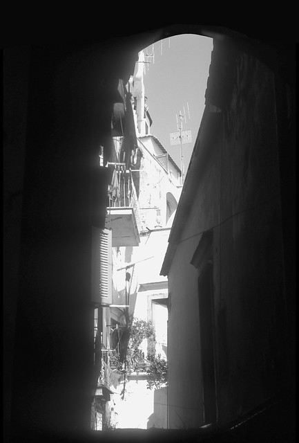 Slot Canyon of Narrow Alleyway Amalfi Italy BW