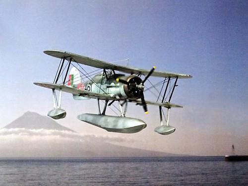 1:72 Gloster Gladiator Mk. II floatplane conversion; aircraft '461'/ 'Tubarão' of the Esquadrilha de Caça No. 3, Portuguese Aéronautica Militar; Lajed (Azores), 1949 (Whif/modified Matchbox kit) | by dizzyfugu