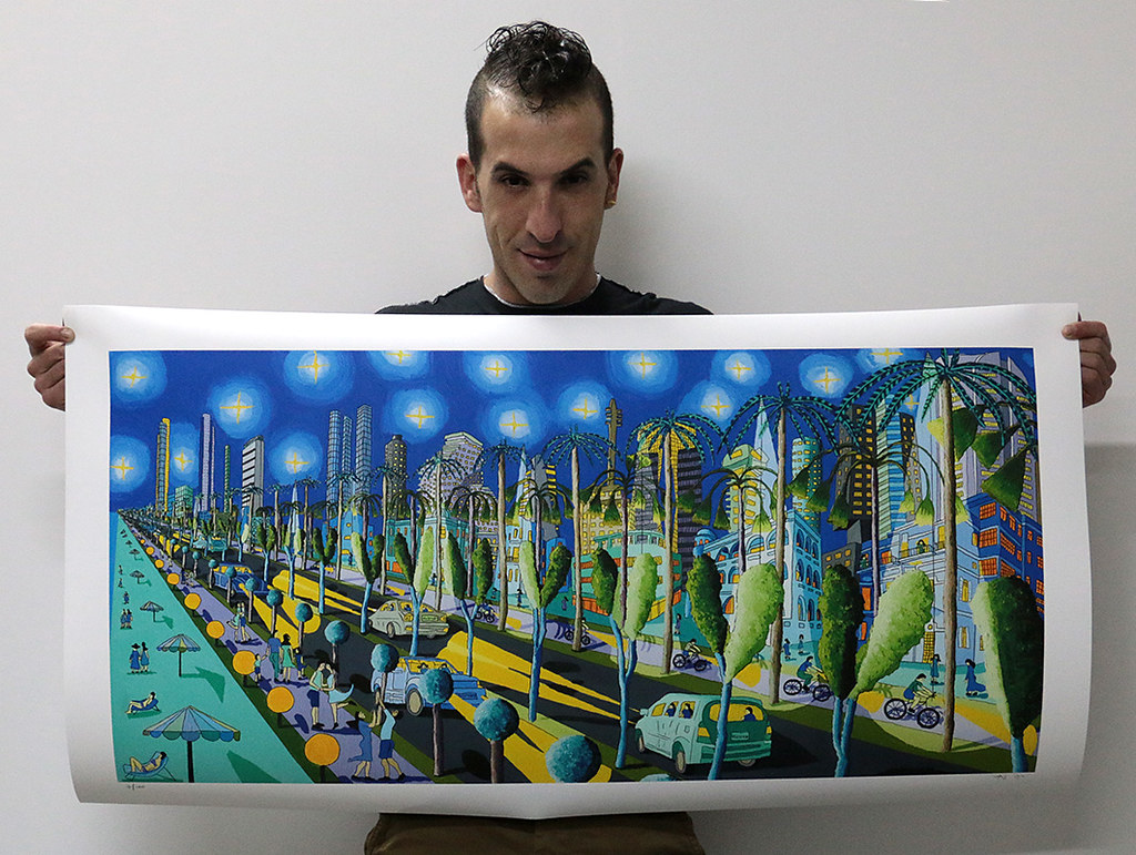 Signed and numbered prints of paintings naive print signed and numbered artist Raphael Perez folk painter colorful big images picture