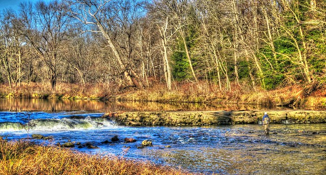 A lone fly fisherman on the Neshannock Creek @ Volant, Pa.
