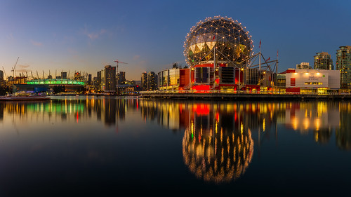 reflections scienceworld bcplacestadium downtown falsecreek water landscape landmark bluehour colourful britishcolumbia bc nikon d7000 dslr dock geodesic vancouver skyline waterfront night dusk sunset bright city serene architecture