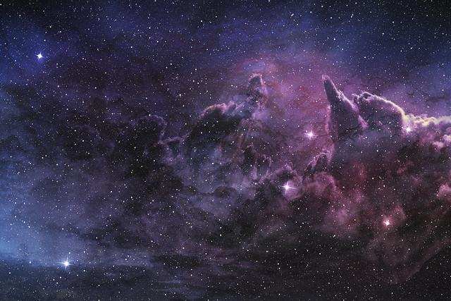 purple nebula and cosmic dust