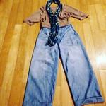 今日のコーディネート 150904 リネン天竺ティーポットTシャツ 海松茶 ギマダンガリーペインターパンツ 加工 インディゴ花柄ヘコオビストール アザレア #45R
