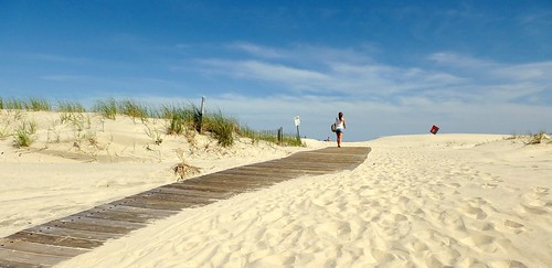 beach girl sand boardwalk